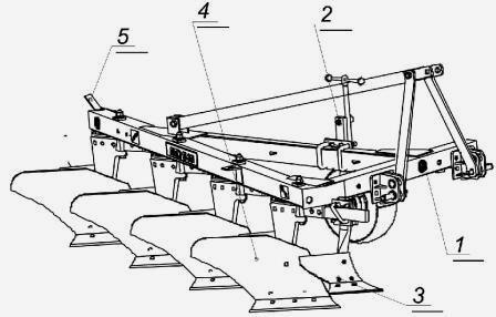 Плуг четырех-корпусный навесной ПЛН-4-35 и основные детали